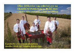 Obec Jiříkovice vás srdečně zve na TRADIČNÍ POSEZENÍ U
