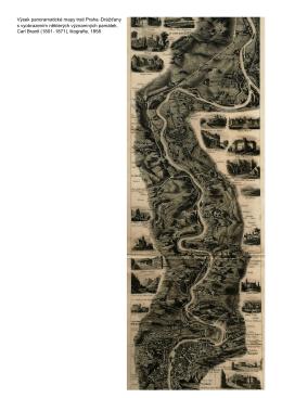 Výsek panoramatické mapy trati Praha–Drážďany s vyobrazením