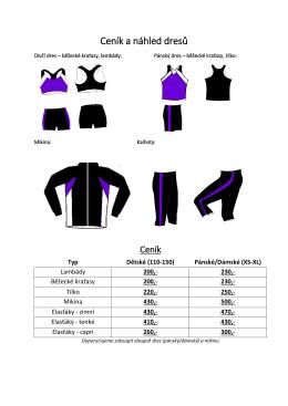 Ceník a náhled dresů