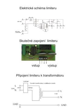 Elektrické schéma limiteru Připojení limiteru k transformátoru