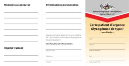 Carte patient d`urgence Glycogénose de type I