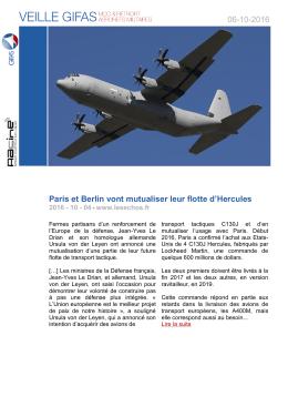 06-10-2016 Paris et Berlin vont mutualiser leur flotte d`Hercules