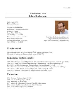 Curriculum vitæ Julien Bonhomme