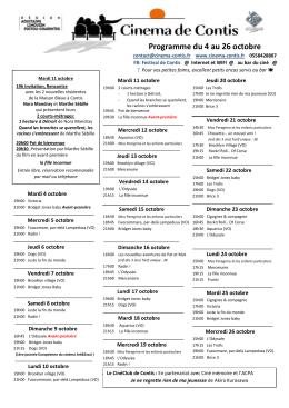 Programme du 4 au 26 octobre