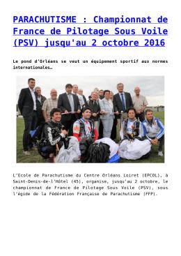 PARACHUTISME : Championnat de France de Pilotage Sous Voile