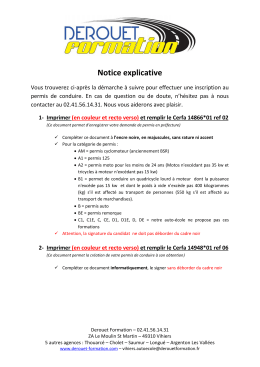 Notice explicative - DEROUET Formation