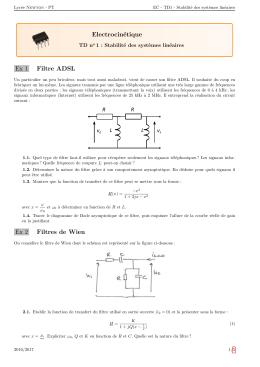 EC - TD1 : Stabilité des systèmes linéaires