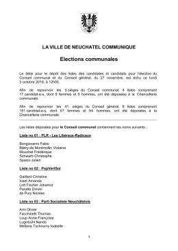 Listes CC et CG - Ville de Neuchâtel