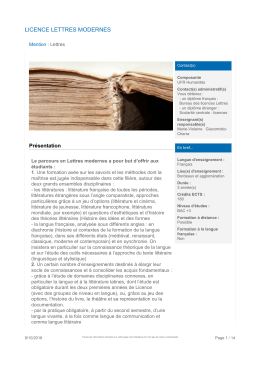 licence lettres modernes - Université Bordeaux Montaigne