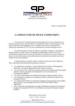 la prefecture de police communique - Paris