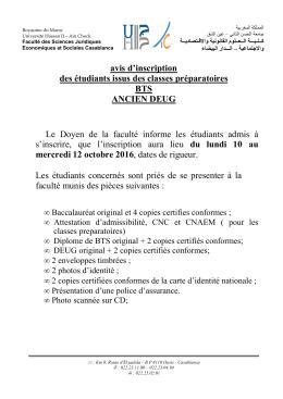 Avis - faculté des Sciences Juridiques Economiques et Sociales