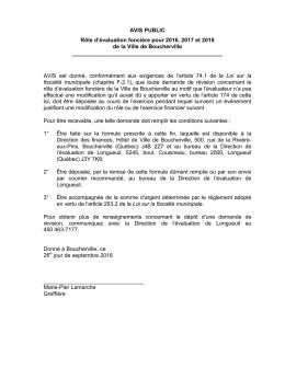 AVIS PUBLIC Rôle d`évaluation foncière pour 2016