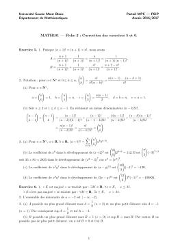 MATH101 — Fiche 2 : Correction des exercices 5 et 6.