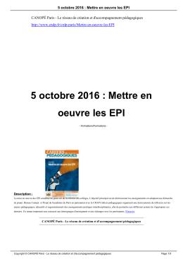 5 octobre 2016 : Mettre en oeuvre les EPI