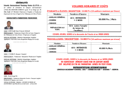 volumes horaires et coûts - LINCOLN INTERNATIONAL TRAINING