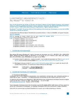 LANCEMENT ARIANESPACE VA231 : Sky MusterTM II / GSAT-18