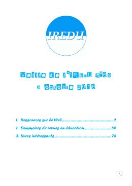 Retrouvez une sélection de documents liés aux thèmes de l`IREDU