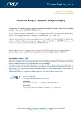 Acquisition d`un parc commercial à Claye-Souilly (77)