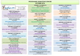 PROGRAMME ANIMATIONS SENIORS OCTOBRE 2016