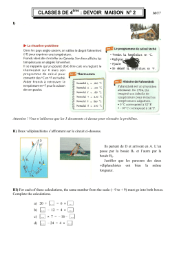 CLASSES DE 4 : DEVOIR MAISON N° 2