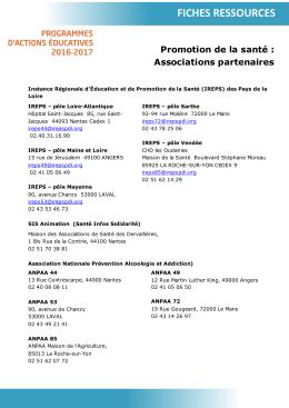 Liste des Associations partenaires pour la promotion de la Santé