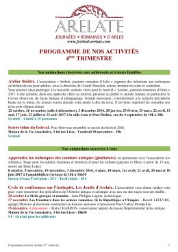 PROGRAMME DE NOS ACTIVITÉS 4ème TRIMESTRE