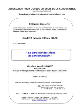La garantie des biens de consommation » Monsieur Yannick NINANE