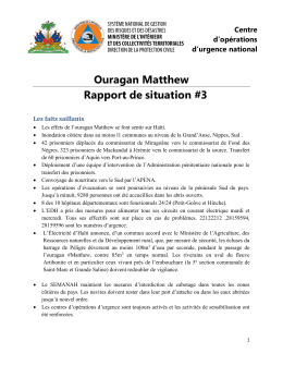 Ouragan Matthew Rapport de situation #3
