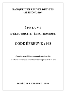 Génie électrique - Concours de l`ENSEA