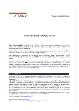 Rachat de titres Foncière Atland