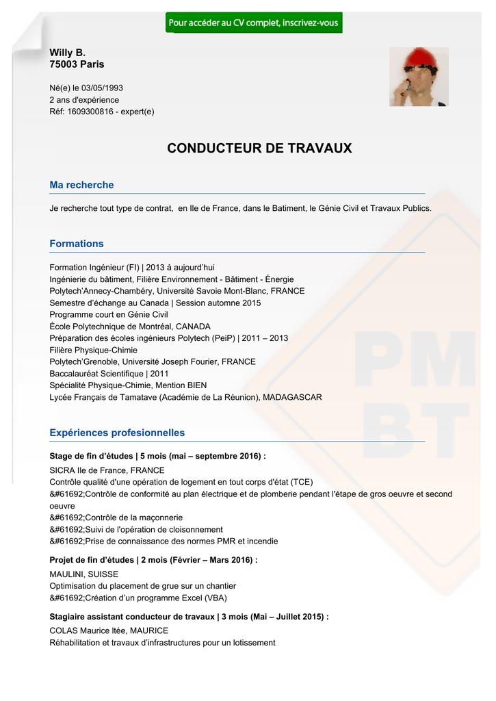 Cv Conducteur De Travaux Tce