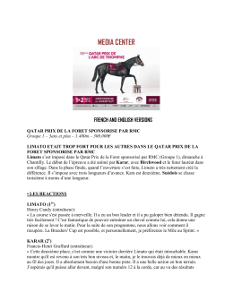 Sunday 2nd October - Qatar Prix de la Forêt sponsored by RMC