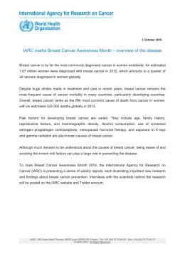 IARC marks Breast Cancer Awareness Month