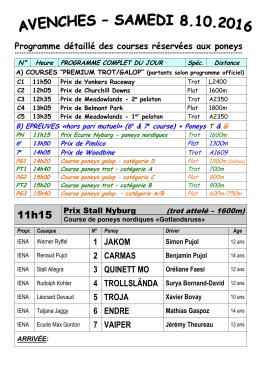 Programme détaillé des courses réservées aux poneys 1