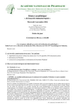 Séance académique - Académie Nationale de Pharmacie
