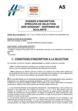 Dossier d`inscription sélection Aide Soignante 2017