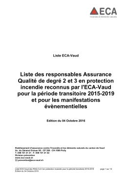 Liste des responsables Assurance Qualité de degré 2 et 3 en
