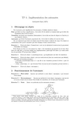 ТР 4 : Implémentation des automates Automates finis (AF3) 1