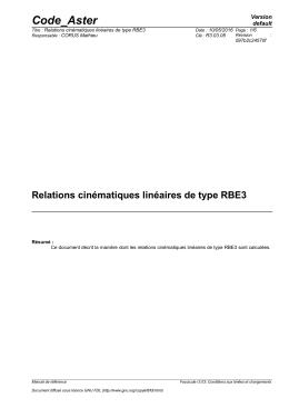 Relations cinématiques linéaires de type RBE3