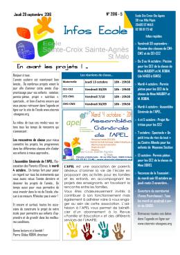 Infos Ecole n°5 - Ecole Ste Croix