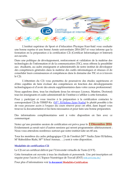 Avis C2i 2016-2017 - Institut Supérieur du Sport et de l`Education