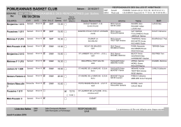Planning de ce week-end - Pomjeannais Basket Club