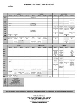 planning casa danse - saison 2016-2017