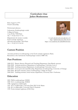 Curriculum vitae Julien Bonhomme Current Position Past Positions