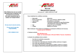Recrute 1 Maintenance planner