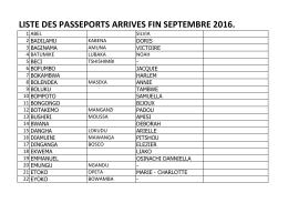 LISTE DES PASSEPORTS ARRIVES FIN SEPTEMBRE 2016.
