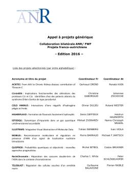 Projets franco-autrichiens (FWF) - Agence Nationale de la Recherche
