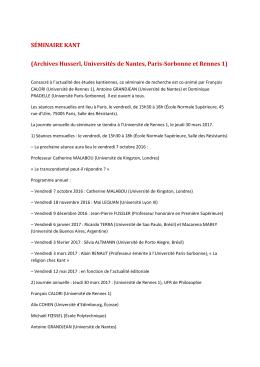 SÉMINAIRE KANT - UMR 8547 - École normale supérieure