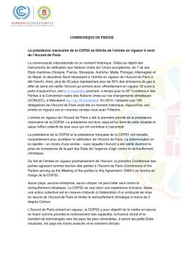 CP Cop22 entrée en vigueur accord Paris VF