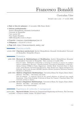 Francesco Bonaldi – Curriculum Vitae - Francesco Bonaldi